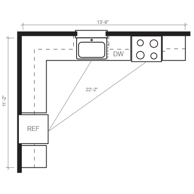 L-Shaped Kitchen Floorplan