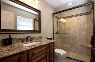 Small Bathroom With Decorative Tile
