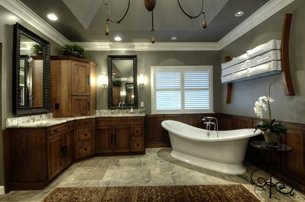 Large Bathroom With Chandelier