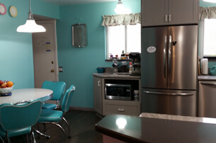 Contemporary Gray & Teal Kitchen