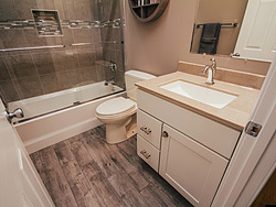 Neutral Bathroom Wood Tile Floor