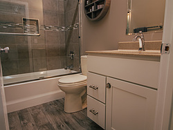 Neutral Bathroom With Contemporary Shelf