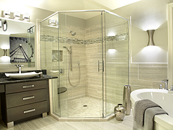 Natural Light Bathroom - Corner Shower