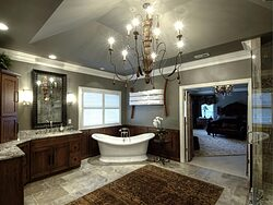 Large Bathroom With Chandelier - Gray Tones