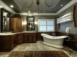 Large Bathroom With Chandelier - Dual Sinks