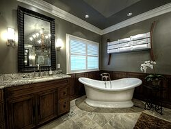 Large Bathroom With Chandelier - Bathtub