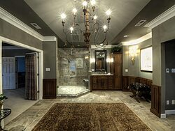 Large Bathroom With Chandelier - Shower