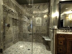 Large Bathroom With Chandelier - Glass Shower