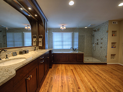 Large Master Bathroom - Wood Floors