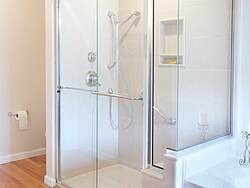 Bright Bathroom With Double Vanity - Shower