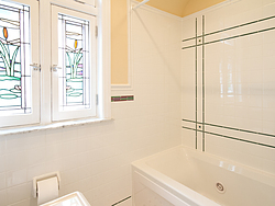 Bathroom With Pedestal Sink - Shower