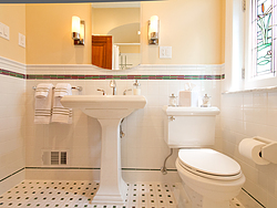 Bathroom With Pedestal Sink - Sink And Toilet