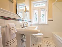 Bathroom With Pedestal Sink - Small Space Design