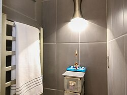 Universal Design Gray Bathroom Remodel