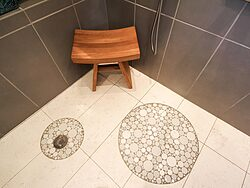Universal Design Gray Bathroom - Tile Floor