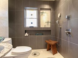 Universal Design Gray Bathroom - Shower Design