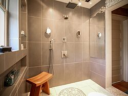 Universal Design Gray Bathroom - Shower Details