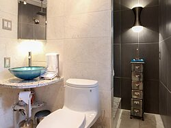 Universal Design Gray Bathroom - Toilet