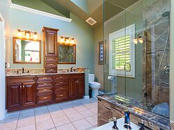 Stained Glass Master Bathroom Design