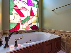 Stained Glass Master Bathroom - Bath Tub Design