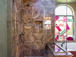 Stained Glass Master Bathroom - Shower Design