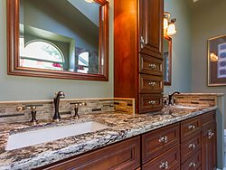 Stained Glass Master Bathroom - Bathroom Sink Design