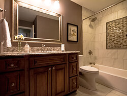Small Bathroom With Decorative Tile Design