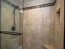 Small Bathroom With Decorative Tile - Shower Tile