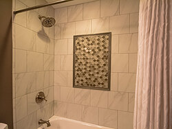 Small Bathroom With Decorative Tile - Shower Tile Design