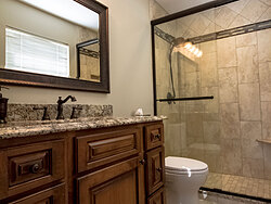 Small Bathroom With Decorative Tile - Bathroom Sink Design