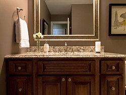 Small Bathroom With Decorative Tile - Bathroom Sink Mirror