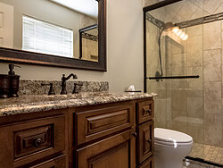 Small Bathroom With Decorative Tile - Bathroom Remodel