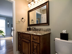 Small Bathroom With Decorative Tile - Bathroom Sink