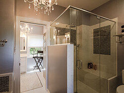 Modern Divided Bathroom - Glass Shower Doors