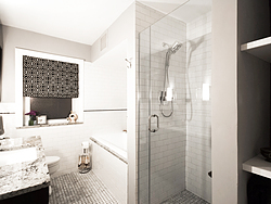Contemporary Master Bath - Glass Shower Door
