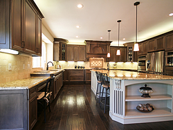 Open Kitchen with Island Seating - Two Tone Kitchen