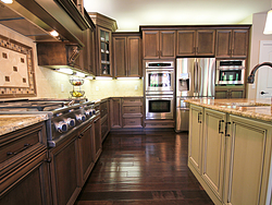 Open Kitchen with Island Seating - Kitchen Cabinets