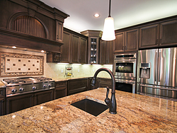 Open Kitchen with Island Seating - Island Sink