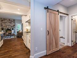 White Traditional Kitchen - Barn Door