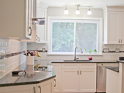 Transitional Kitchen With A Pop Of Color - Kitchen Window