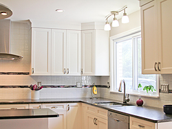 Transitional Kitchen With A Pop Of Color - Kitchen Cabinets