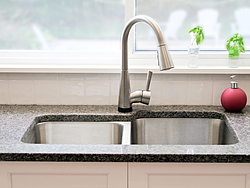 Transitional Kitchen With A Pop Of Color - Kitchen Faucet