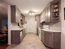 Gray And White Gallery Kitchen