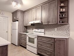 Gray And White Gallery Kitchen - Cabinets