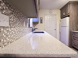 Gray And White Gallery Kitchen - Countertop