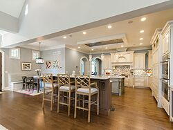 Gray and White Kitchen - Kitchen Island Seating