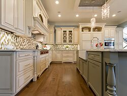 Gray and White Kitchen - Wood Floors