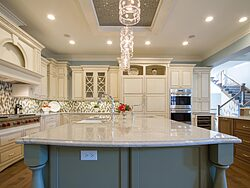 Gray and White Kitchen - Island Countertop