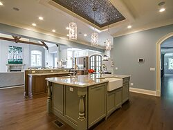 Gray and White Kitchen - Island