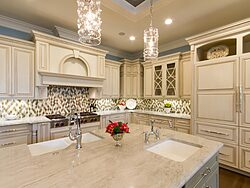 Gray and White Kitchen - Island Sinks